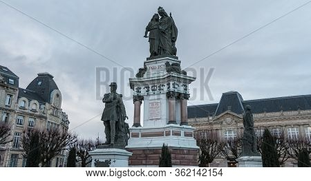 View Of The Bronze Monument Of The Three Seats Of Belfort By Auguste Bartholdi