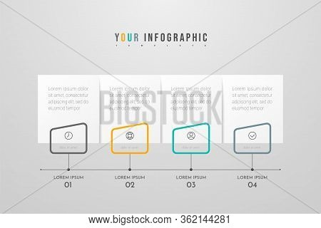Infographic Design With Icons And 4 Options Or Steps. Infographics Business Concept. Can Be Used For