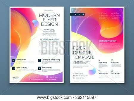 Liquid Abstract Flyer Design. Fluid Dynamic Graphic Element For Modern Brochure, Banner, Poster, Fly