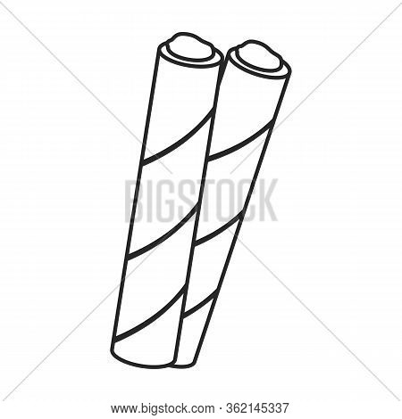 Wafer Of Chocolate Roll Vector Icon.outline Vector Icon Isolated On White Background Wafer Chocolate