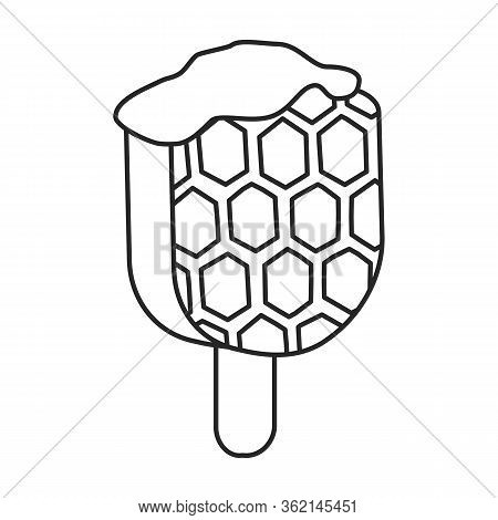 Waffle On Stick Vector Icon.outline Vector Icon Isolated On White Background Waffle On Stick .