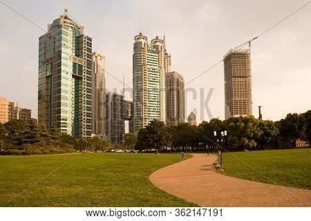 Shanghai, China - November 26, 2008: Skyline Of Modern Office Buildings At Lujiazui Financial Distri