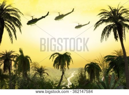 American Huey Military Helicopter Formation Flying Over The Jungle At Sunset During The Vietnam War.