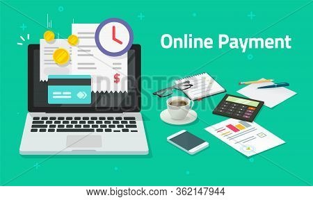 Paying Bills Online Via Credit Card On Laptop Computer Or Electronic Shopping Concept On Pc With Dig