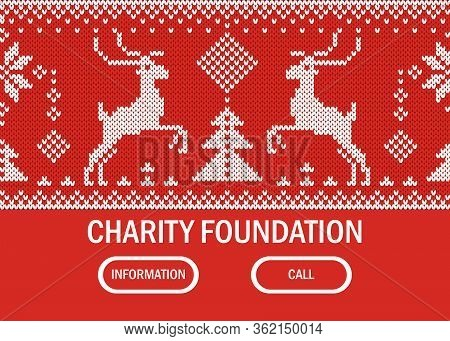 Charity Foundation Web Banner, Information Call Support Flat Vector Illustration. Running Deer Logo