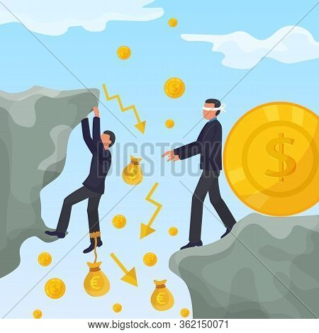 Investor Male Character Fall Financial Market, Global Money Crisis Flat Vector Illustration. Monetar