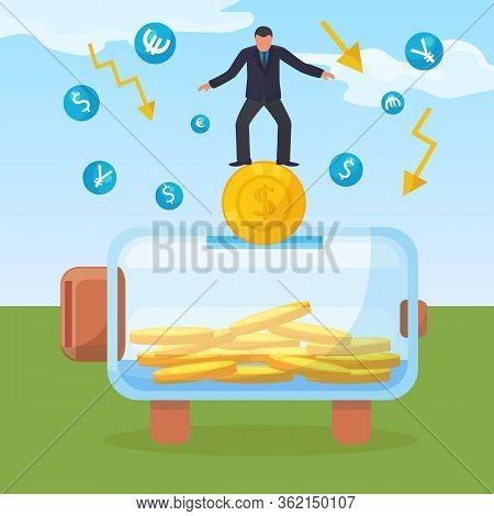 Glass Jar Full Gold Coin International Money, Character Businessman Stand Moneybox Concept Vector Il