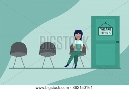 Recruitment Flat Banner. Candidate Sitting On Chair Front Of Door For Giving Interview, Job Intervie