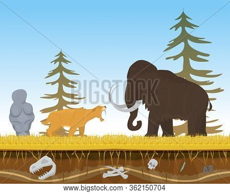 Prehistoric Tiger Attack Ancient Mammoth, Character Animal Bite Flat Vector Illustration. Wildlife N