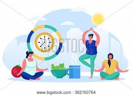 Morning Yoga, Asian Style Physical Training, Female Character Make Physical Exercises, Isolated On W