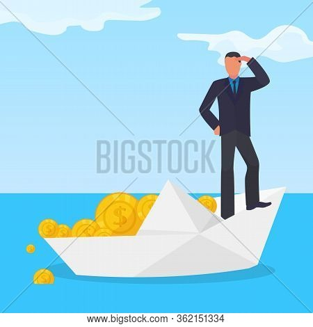 Drowning Corrupt Character Male On White Paper Boat, Stolen Gold Dollar Coin Flat Vector Illustratio