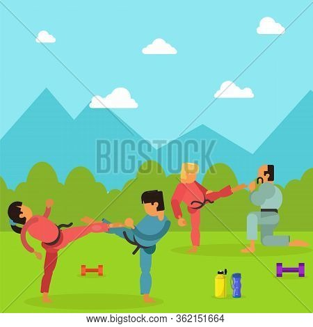 Karate Training Children Character, Martial Art Outdoor Place Exercise Session Flat Vector Illustrat