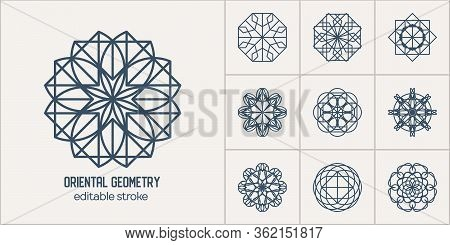 Linear Ornamental Logo Templates Set. Vector Arabic Geometric Symbols. Editable Stroke For Customiza