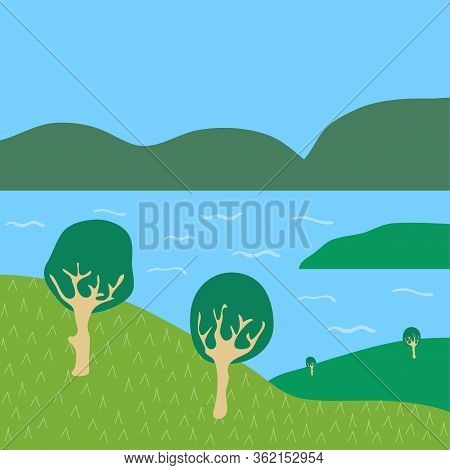 Nature Minimalistic Abstract Countryside View With Trees Mountains Hills And Lake Hand Drawn Backgro