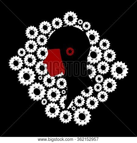 Black And Red Head Profile Silhouette With Red Cog Over Close Up White Cogs Silhouette On Black Back