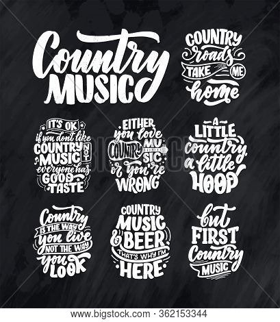 Set With Country Music Lettering Quotes For Festival Live Event Poster Concept. Textured Illustratio