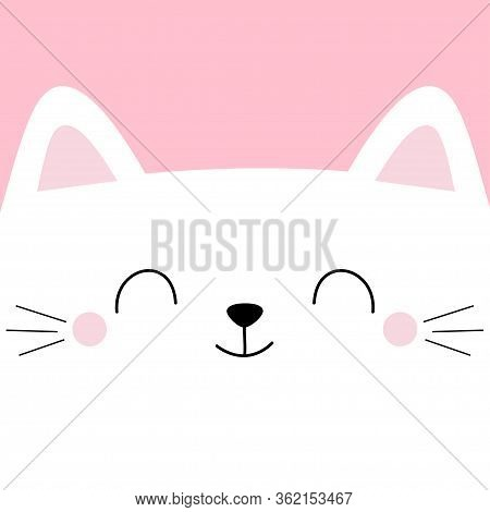 White Cat Head Face Square Icon With Eyes. Pet Baby Print For Notebook Cover, Greeting Card. Cute Ca