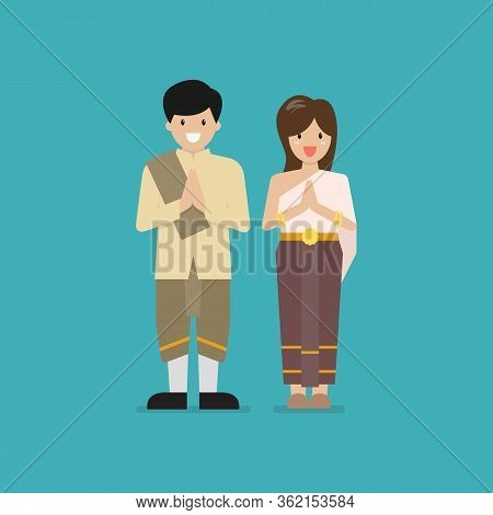 Thai Man And Woman Wearing Typical Thai Dress. Vector Illustration