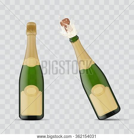 Realistic 3d Detailed Champagne Green Bottle Explosion Set On A Transparent Background Symbol Of Cel