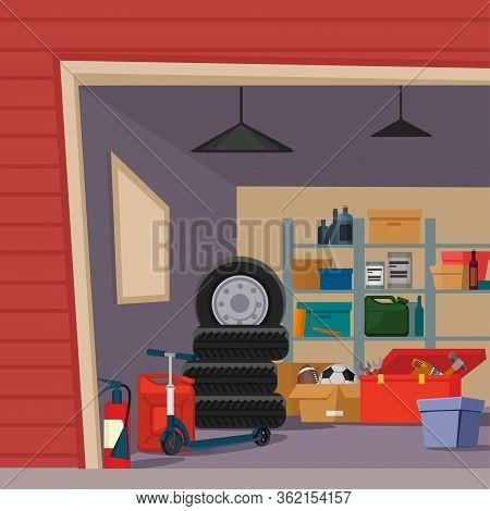 Cartoon Color Garage Interior Inside Concept Flat Design Style Include Of Box, Tire And Instrument.