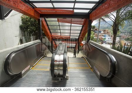 Medellín, Antioquia / Colombia - July 8, 2019. Escalators Of The Commune Stair 13. Tourist Zone.