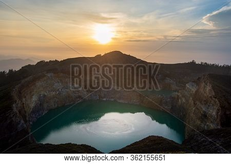 Blue Lake Inside Of The Crater Of The Kelimutu-volcano On Flores Island, Indonesia