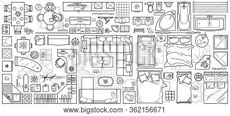 Floor Plan Icons Set For Design Interior And Architectural Project (view From Above). Furniture Thin