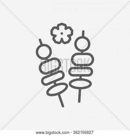 Yakitori Icon Line Symbol. Isolated Illustration Of Icon Sign Concept For Your Web Site Mobile App L