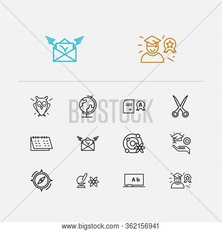 Distant Education Icons Set. Scissors And Distant Education Icons With Globe, Physics And Admission