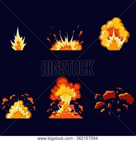 Cartoon Explosion Effect With Smoke. Boom Effect, Detonate Flash, Comic Bomb. Dynamite Explosions, E