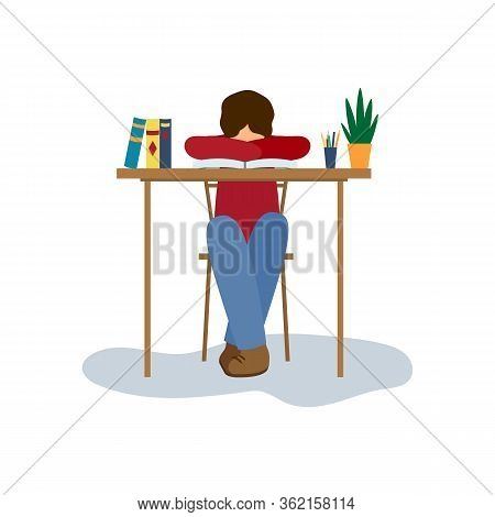 Vector Illustration Of Tired, Weary School Boy, Student At Home Education Isolated On White Backgrou