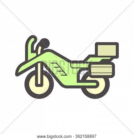 Off Road Motorcycle Vector Icon Design Element.