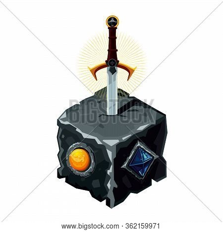 Excalibur Sword In A Stone. Legendary Weapon. Cartoon Vector Illustration. Video Game Asset.