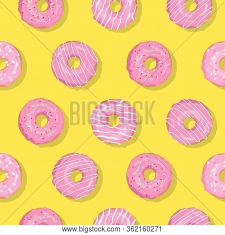 Vector Trendy Minimal Seamless Pattern With Pink Glaze Donuts And Sugar Icing With Deep Shadow. Mode