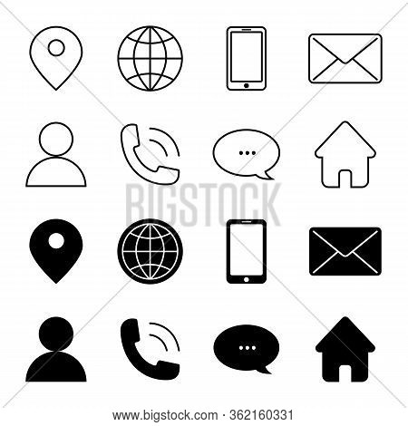 Contact Us Vector Line Icons Set. Call, Contact, Email, Message And More. Contact Us Icons. Web Icon