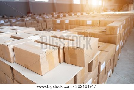 A Lot Of Cardboard Boxes In Stock. Detention Of Smuggled Goods At Customs. The Concept Of Illegal Cr
