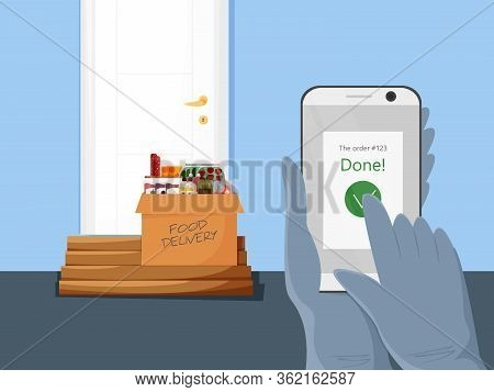 Vector Illustration Of Contactless Food Delivery. Concept Design Of Safe Grocery Carrying Service In