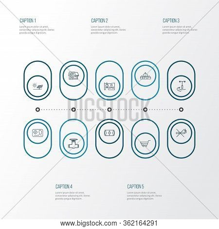 City Icons Line Style Set With Church, Pipeline, Bakery And Other Pitch Elements. Isolated Vector Il