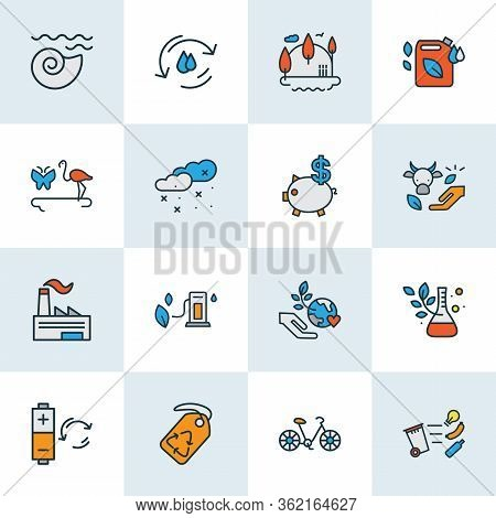 Eco Icons Colored Line Set With Fauna, Factory, Green World And Other Flask Elements. Isolated Illus