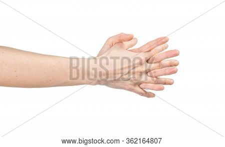 Caucasian Woman Washing Her Hands Isolated On White Background. Demonstration Of Hand Washing. Conce