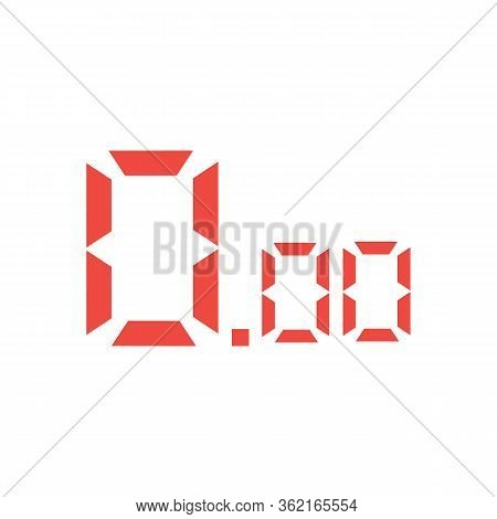 Red Digital Numbers On White Background. Flat Style. Red Digital Numbers Icon For Your Web Site Desi