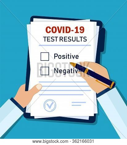 Doctor Writes Diagnosis Coronavirus On Clinic Form. Hand Writes Results Of Test Corona For Patient F