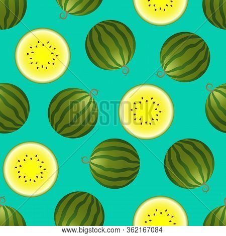 Vector Watermelon Seamless Pattern. Whole And Half Watermelon On Turquoise Background. Colorful Vect