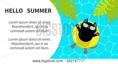 Hello Summer Banner Flyer. Pool Party. Black Cat Floating On Yellow Pool Float Water Circle. Top Air