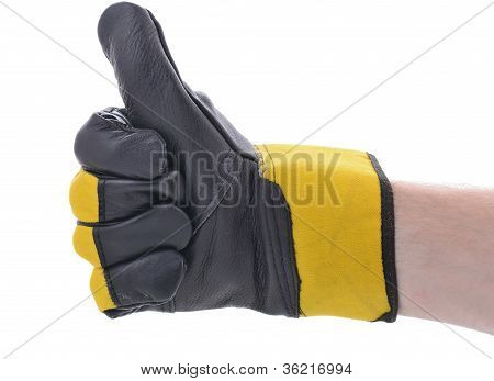 thumbs up construction glove