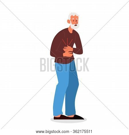 Old Man Feel Stomach Abdominal Pain. Unhappy Suffering Senior