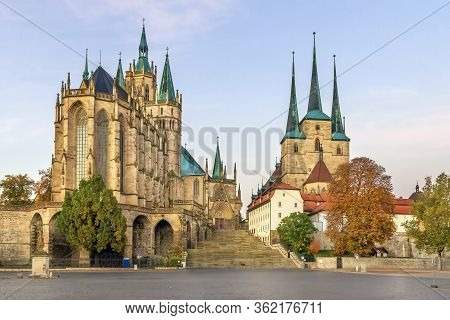 Erfurt Cathedral And Severikirche Church, Germany. Both Churches Tower Above The Town Scape And Are