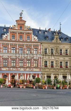 Picturesque Houses In The Renaissance Style On The Fischmarkt Square In Erfurt, Germany
