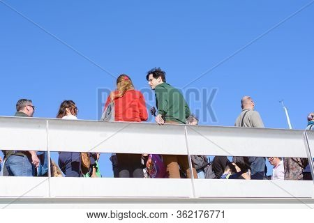 Barcelona, Spain : 2016 Nov 1 :  Sunny Day With People On The Ramblas Del Mar Drawbridge In Barcelon