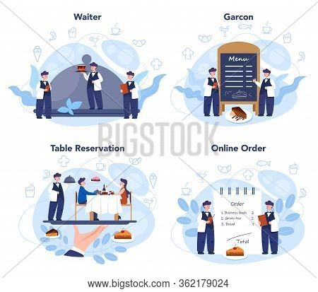 Waiter Concept Set. Restaurant Staff In The Uniform, Catering Service.